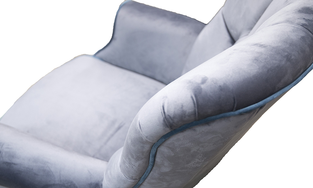 Matisse Deep Button Chair in Luxor Tempest, Silver Collection Fabric