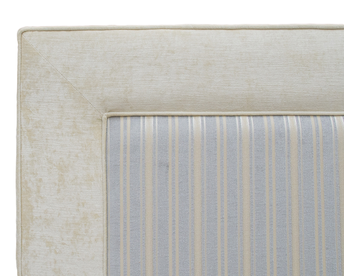 Monaco 5ft Headboard  Close Up- Side Panel Jbrown Modena Ivory  FR Inside Tolstoy Stripe Ocean