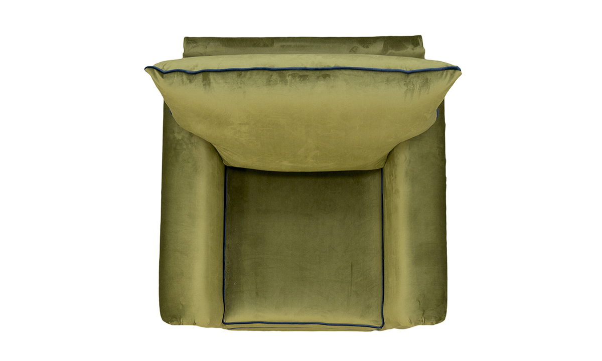 Monroe Chair Top View in Luxor Artichoke Silver Collection