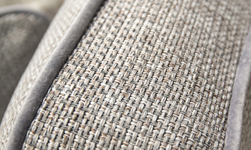 Back Cushion Detail, Milwaukee Grey, Bronze Collection Fabric, Contrast Piped in Luxor Dolphin, Silver Collection Fabric