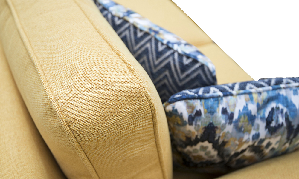 Back Cushion Detail,  Soho Mustard, Silver Collection Fabric