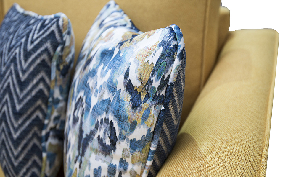 Scatter Cushions in Monet Winter, Platinum Collection Fabric & Piper Navy, Gold Collection Fabric