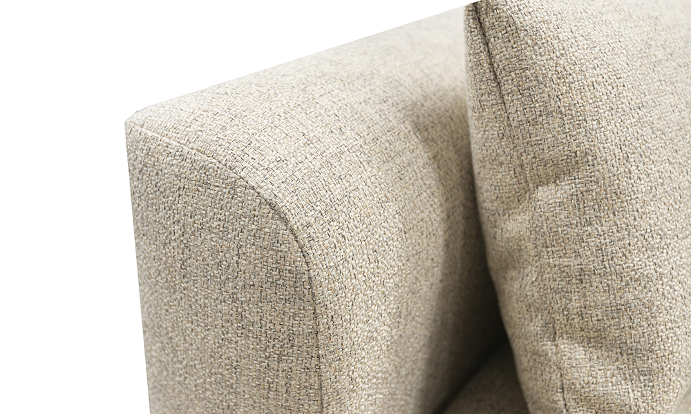 Nolan 3 Seater Sofa arm detail in Luca Beige, Bronze Collection Fabric