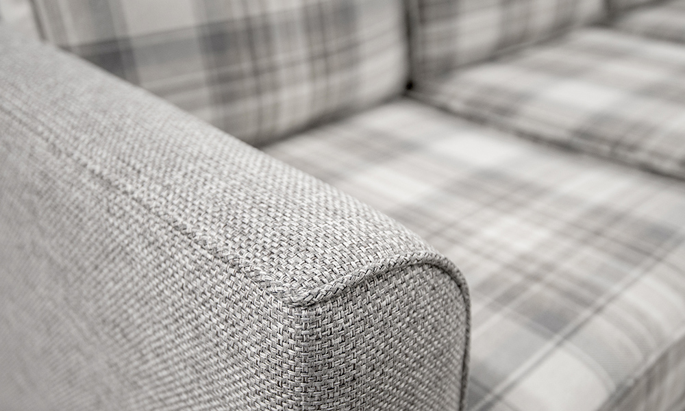 Nolan 3 Seater chaise end sofa abck  in aviemore plaid and Milwaukee grey
