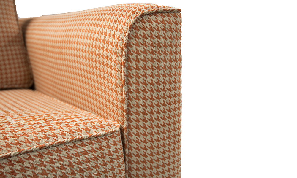 Nolan Chair arm in Poppy Orange, Silver Collection Fabric