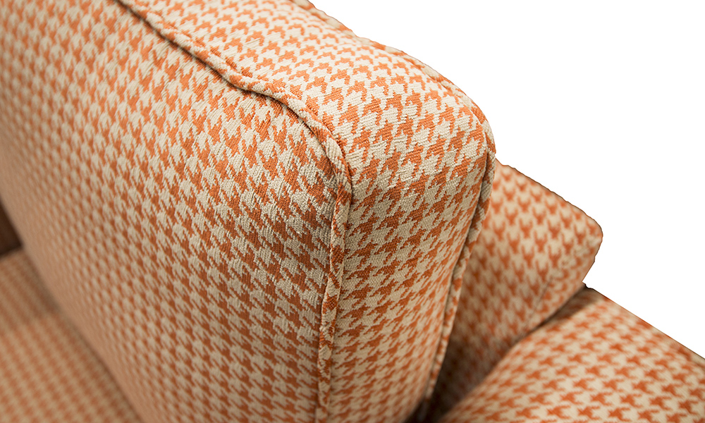 Nolan Chair detail in Poppy Orange, Silver Collection Fabric
