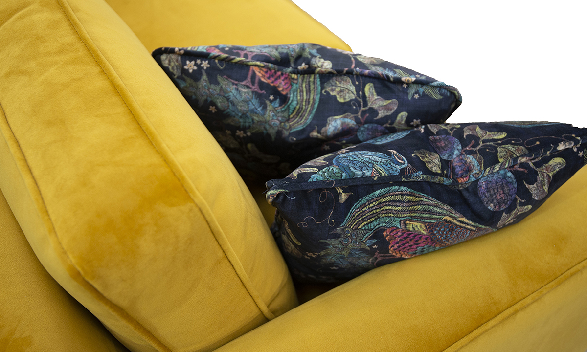 Back Cushion Detail, Arm Detail, Warwick Turmeric, Gold Collection Fabric