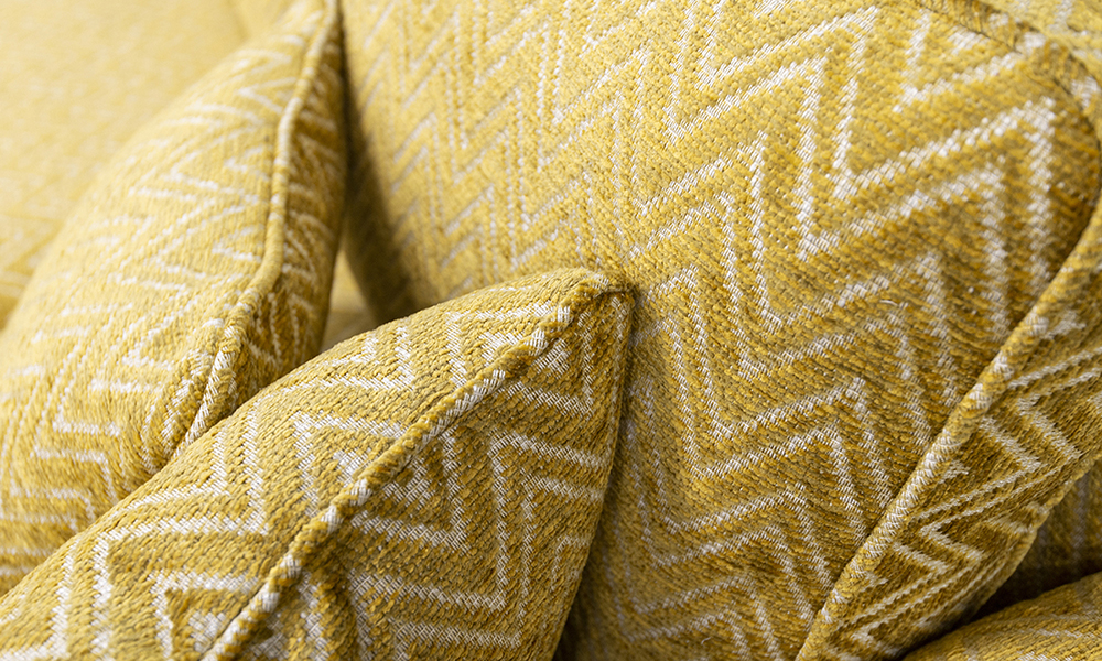 Nolan Scatter cushion Detail in Piper Gold, Gold Collection Fabric