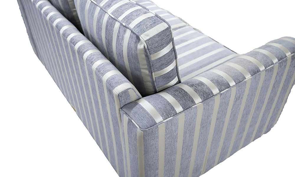 Nolan Small Sofa Back in Reflex Stripe Ocean, Silver Collection Fabric