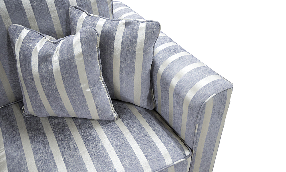Nolan Small Sofa Detail in Reflex Stripe Ocean, Silver Collection Fabric