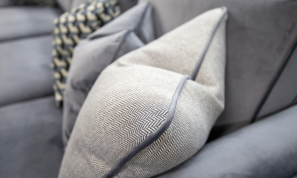 Nolan-Sofa-cushion-detail-in-Luxor-Tempest-Silver-Collection-of-Fabrics