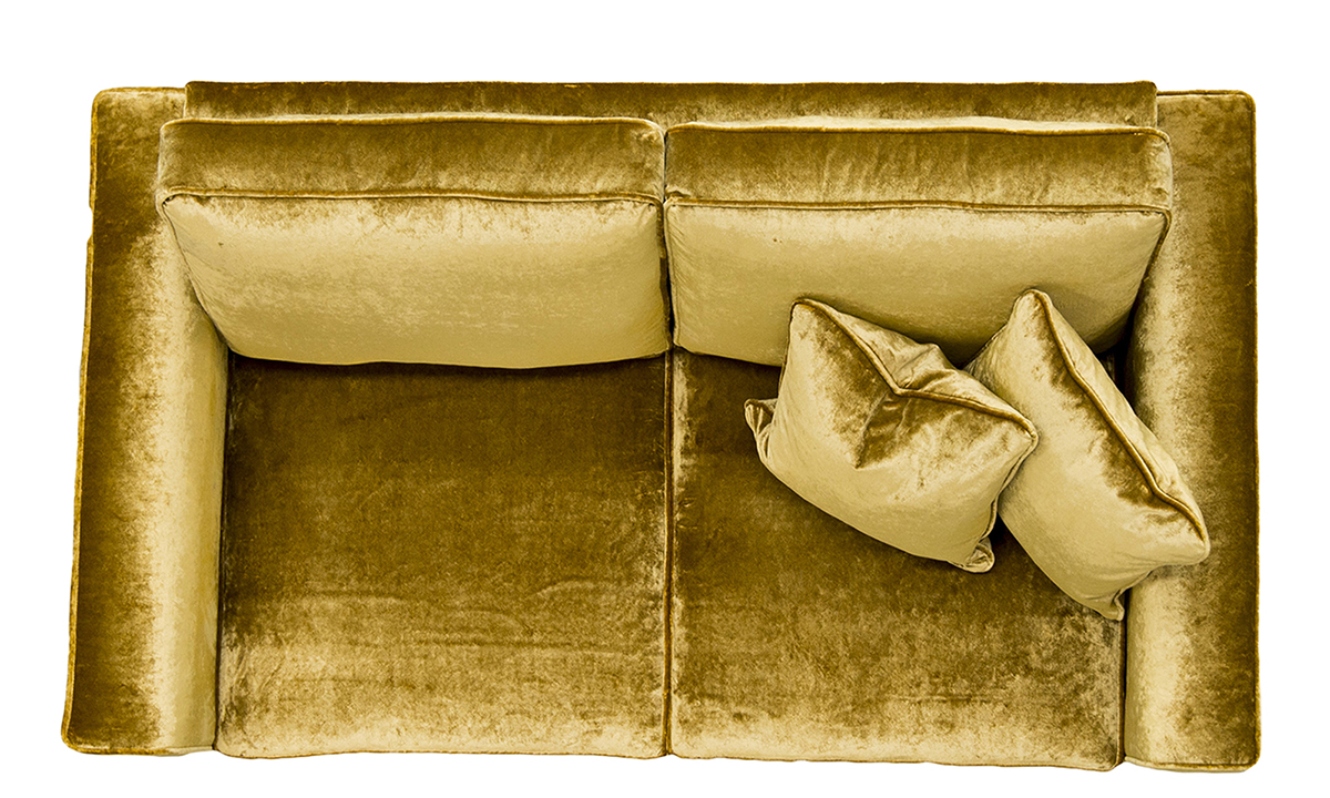 Nolan Small Sofa Top View in Stella Mustard, Platinum Collection Fabric