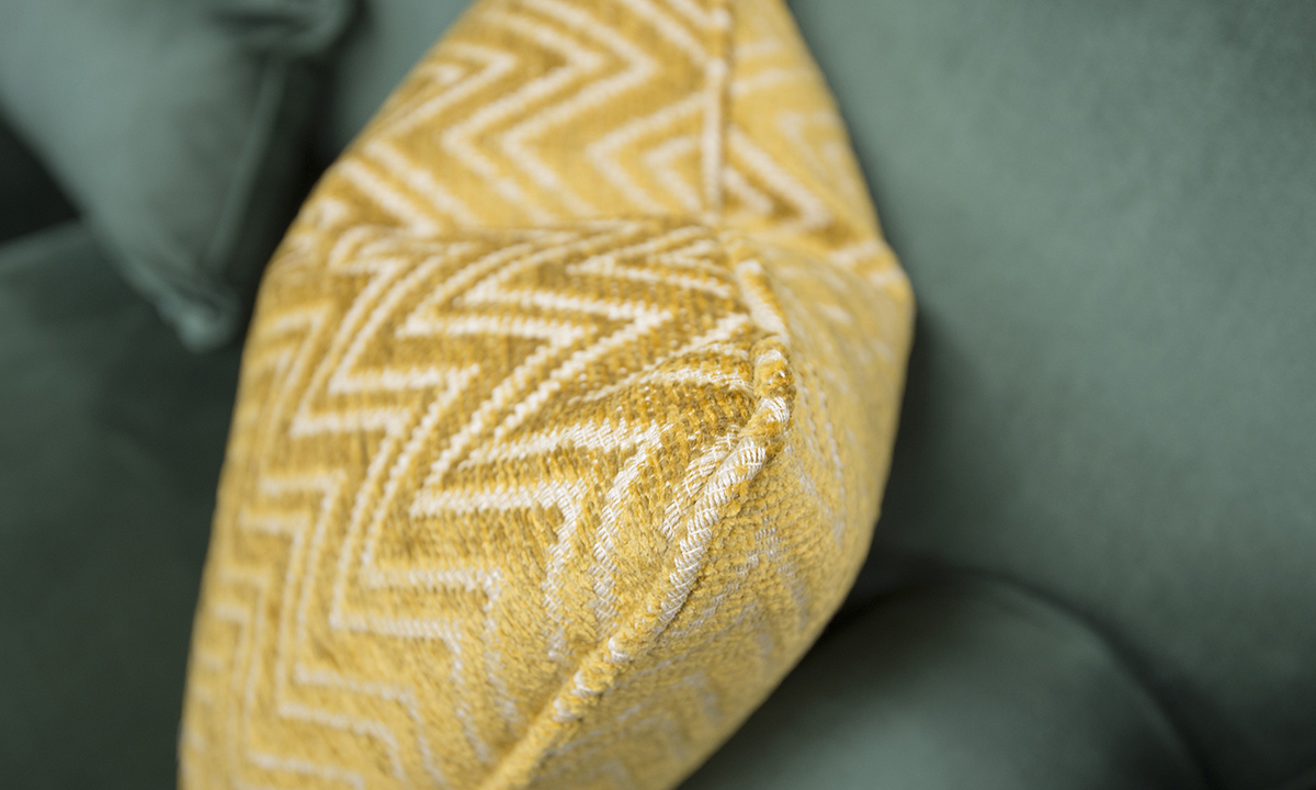 Othello-Large-Sofa-Cushion-Detail-in-Erasmus-Lincoln-Green-Gold-Collection-Fabric