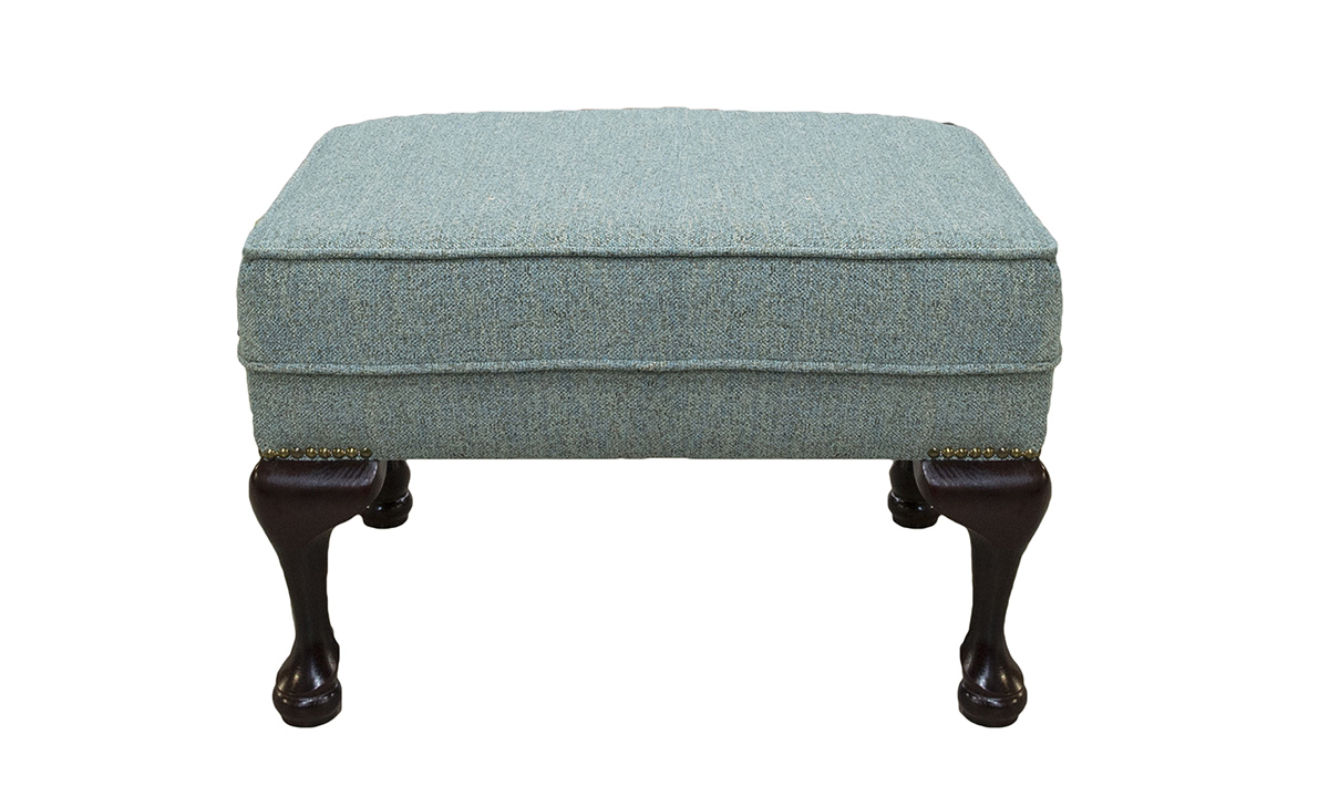 Queen Anne Footstool Belize Seacrest, Bronze Collection Fabric