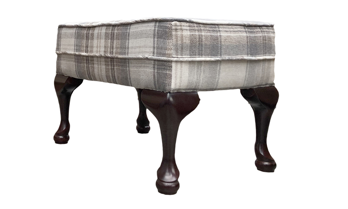 Queen Anne Footstool in Aviemore Plaid Linen, Silver Collection Fabric