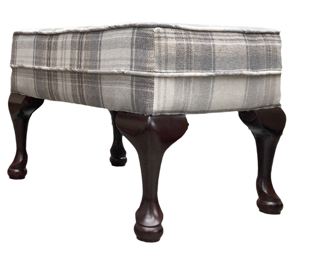 Queen Anne Footstool in Aviemore Plaid Linen Silver Collection Fabric