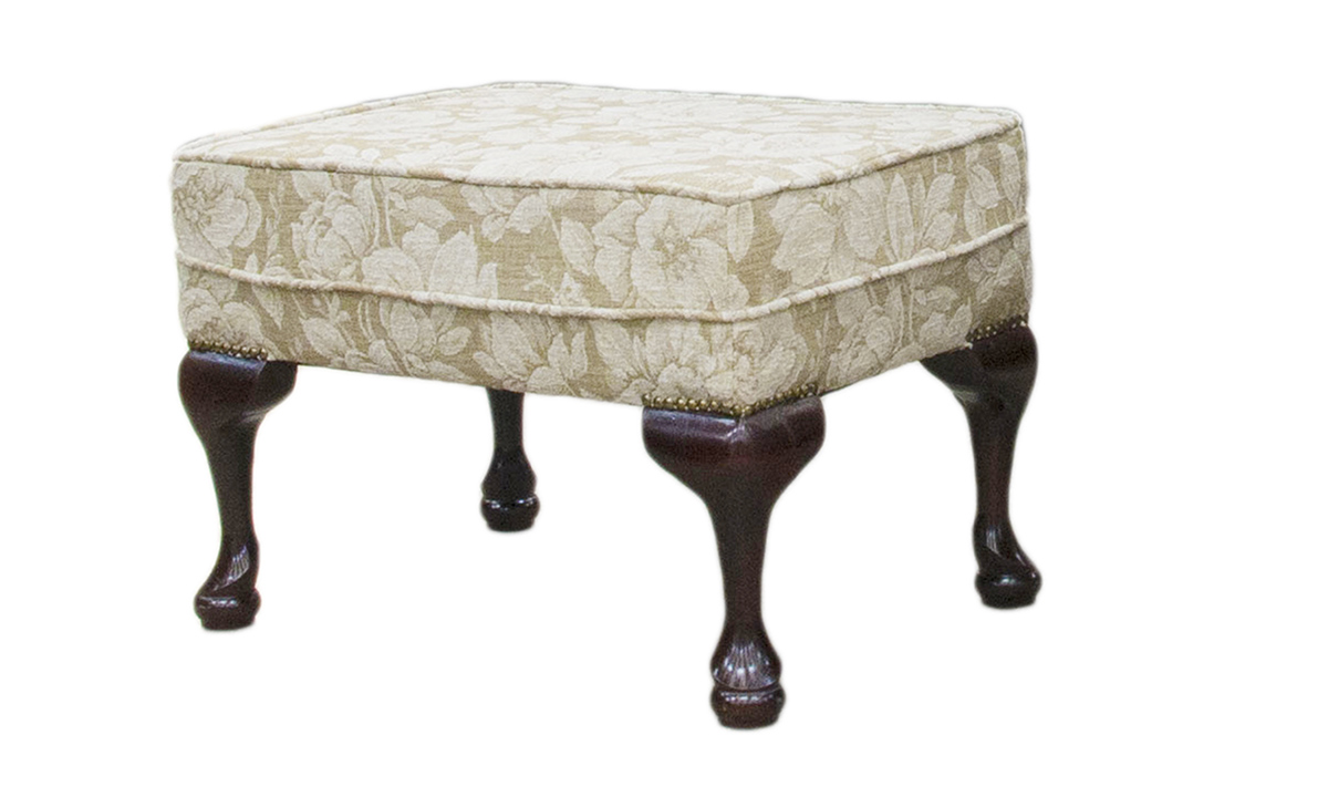 Queen Anne Footstool in Belair Pattern , Silver Collection Fabric