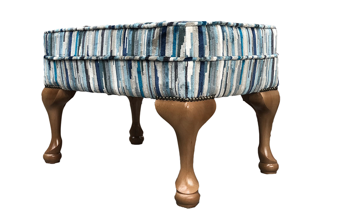Queen Anne aQueen Anne Footstool in Customers Own FabricFootstool Side - COM