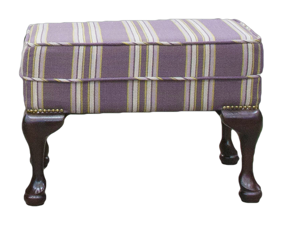 Queen Anne Footstool in Varadi Stripe Purple  Bronze Collection Fabric