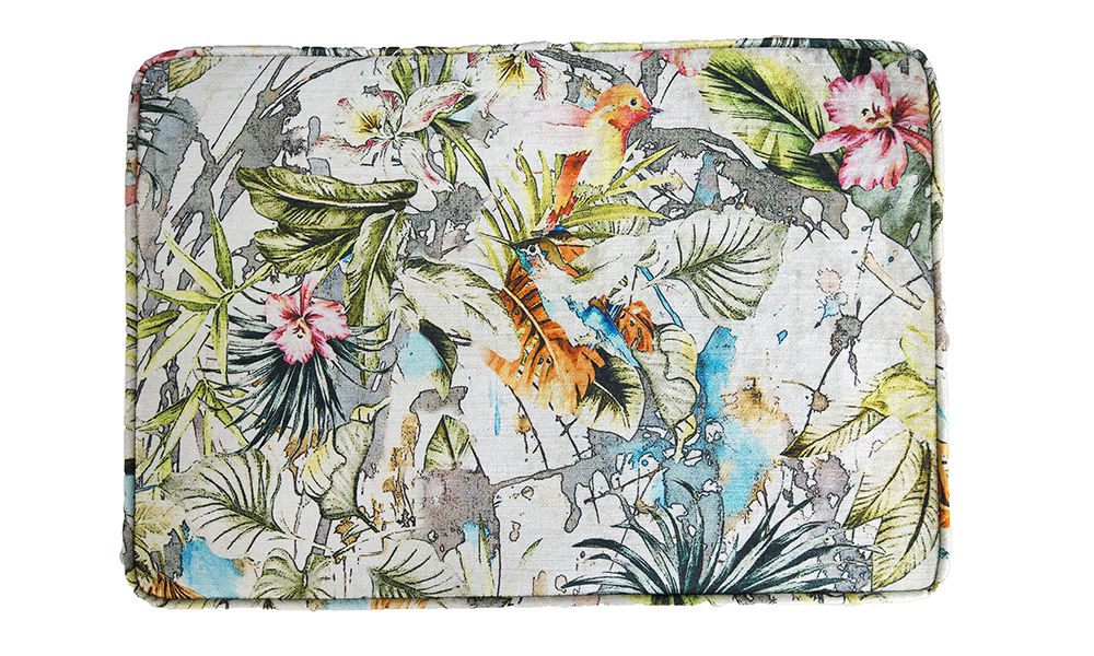 Queen-Anne-Footstool-top-view-in-Paradise-Multi-Platinum-Collection-Fabric