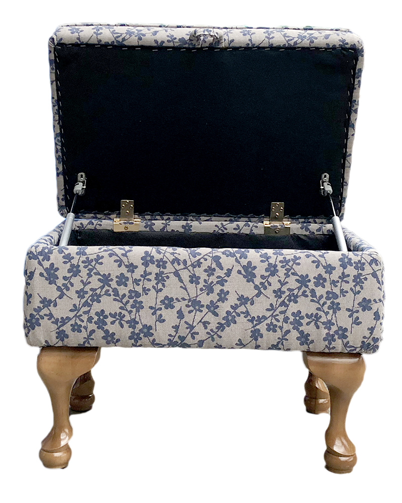 Queen Anne Storage Footstool in  Kwint Navy Silver Collection Fabric