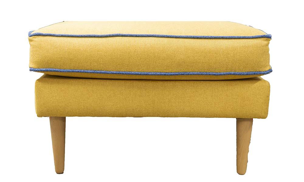Sebastian Footstool in Soho Mustard, Silver Collection Fabric
