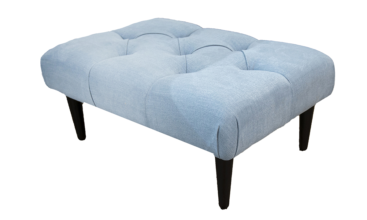 Sebastian Footstool Deep Button (Bespoke Option) in Fontington Moda Sky 2238