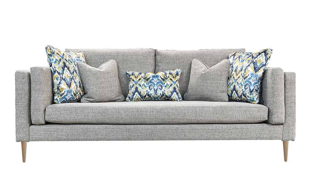 Sebastian 3 Seater Sofa in Bravo Silver, Silver Collection Fabric