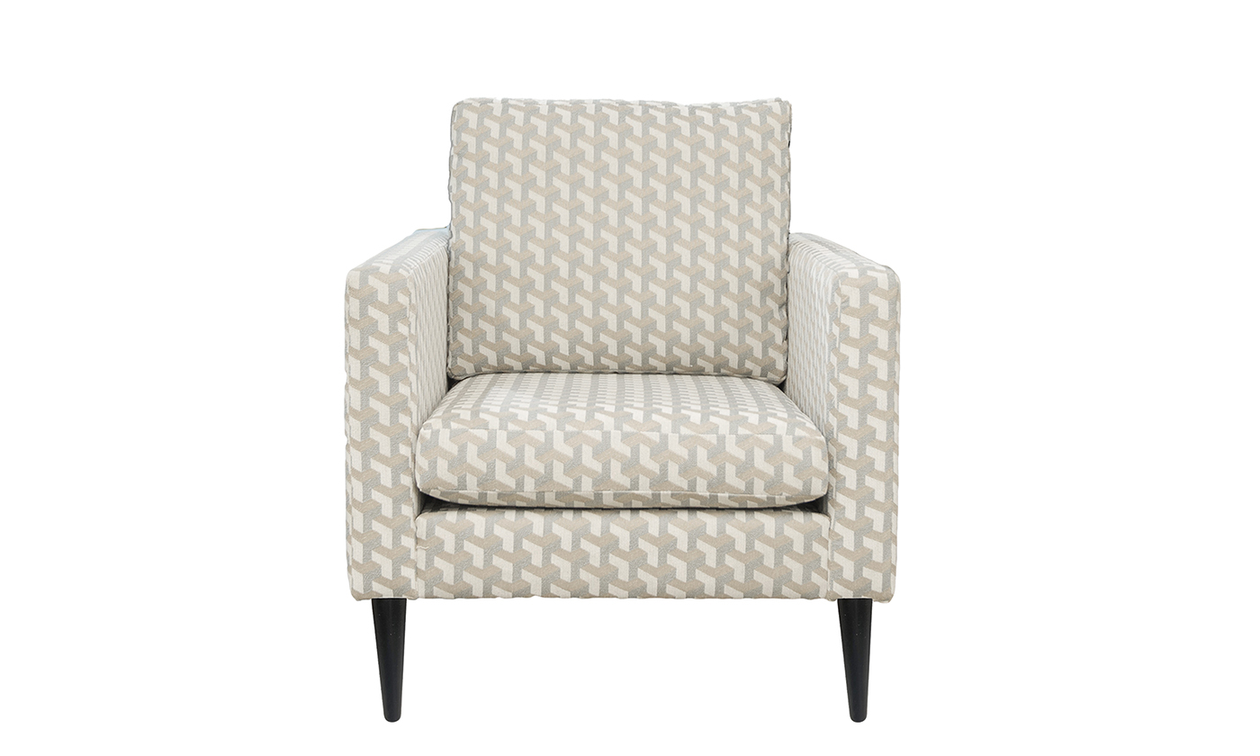 Sebastian Chair in Levonne Dusk, Silver Collection Fabric
