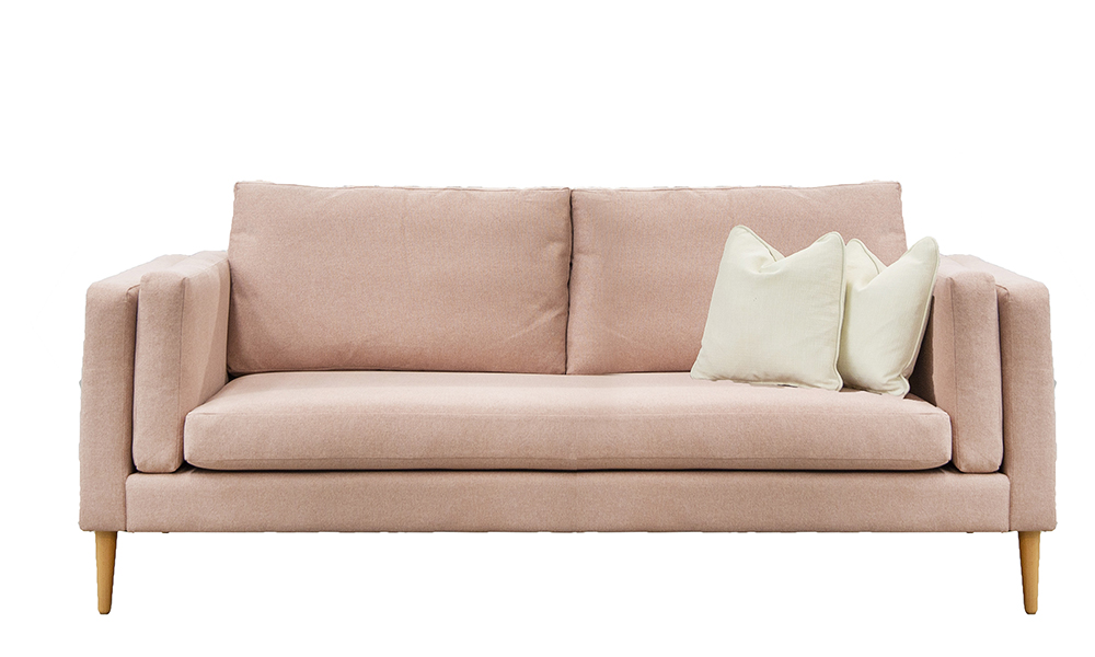 Sebastian 3 Seater Sofa in Soho Blush, Silver Collection of Fabrics