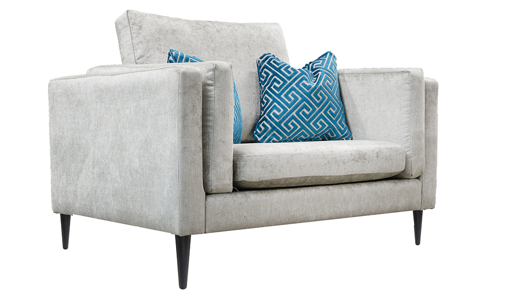 Sebastian Love Seat in Edinburgh French Grey, Silver Collection Fabric