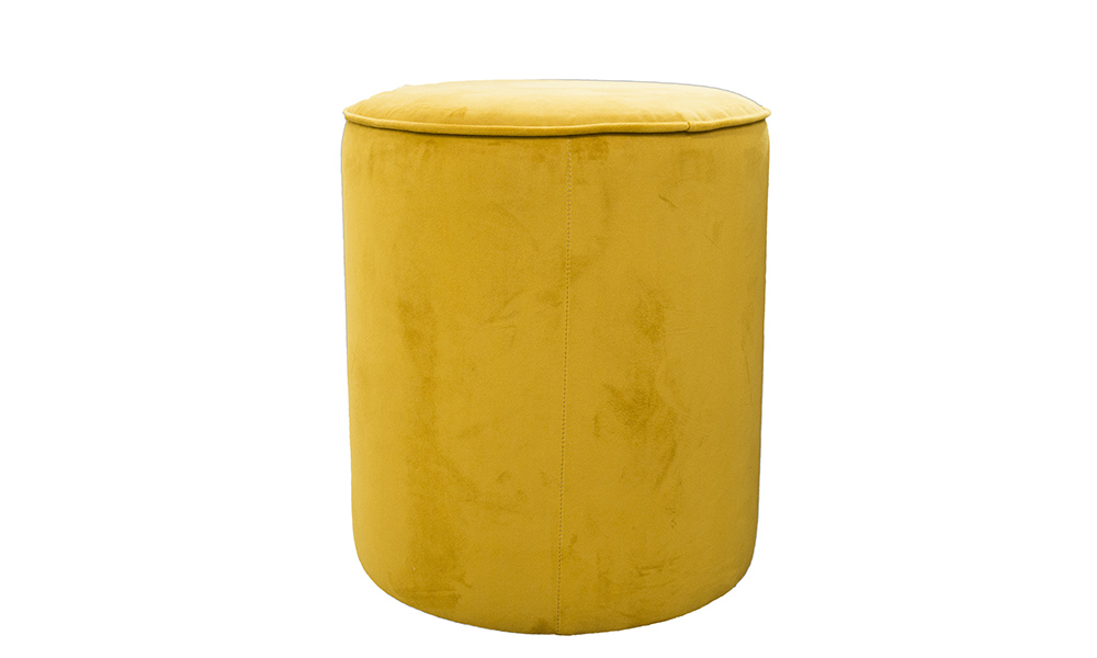 Pluto Footstool in Plush Turmeric Gold Collection Fabric